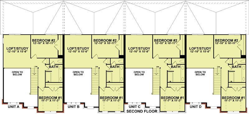 4 unit traditional townhouse 9129 3 bedrooms and 2 baths for 4 unit townhouse plans