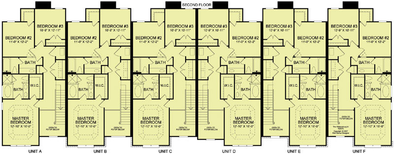 6 unit townhouse 9153 3 bedrooms and 2 baths the house for 4 unit townhouse plans