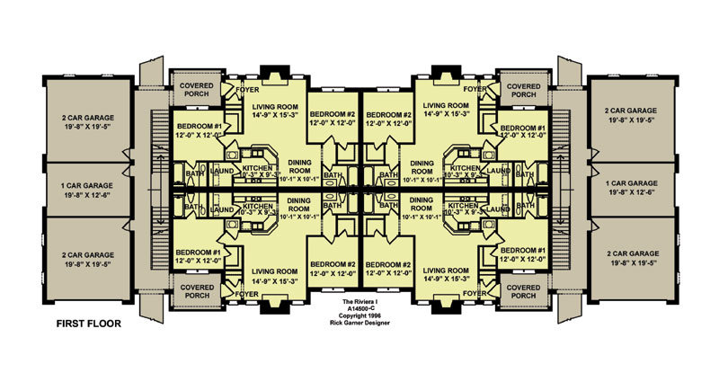 12 unit apartment 9130 2 bedrooms and 2 5 baths the 2 unit building plan