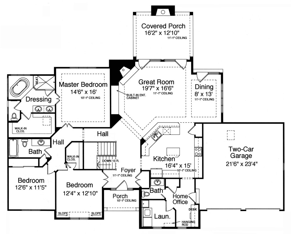Bonnie lynn 9078 3 bedrooms and 2 baths the house for Single level floor plans