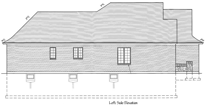 Left Elevation Plan : Bethany bedrooms and baths the house designers