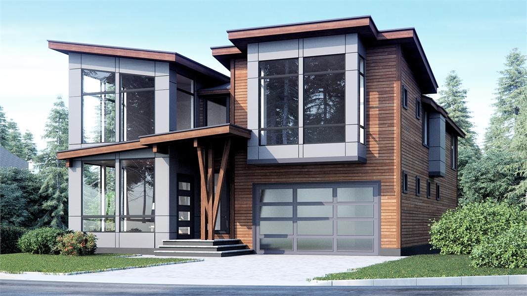 Two Story Modern Style House Plan 1457 Riverside