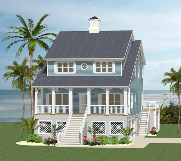 Front elevation for 3 story beach house floor plans