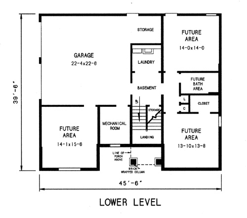 lower level plan image of Plan THD-WDF-7744