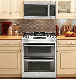 "12-GE® Profile™ Series 30"" Slide-In Double Oven Gas Range"