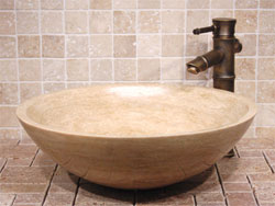 Bathroom Vanities on This Beautiful Eden Bath Beige Travertine Vessel Sink At Bathroom